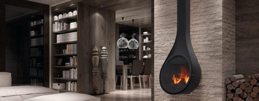 stufa a legna di design Rocal Drop Parma Reggio Emilia